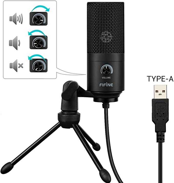 Usb Microphone Fifine Metal Condenser Recording Microphone For Laptop Mac Or Windows Cardioid Studio Recording Vocals Voice Overs Streaming Broadcast And Youtube Videos K669b Amazon Ca Electronics