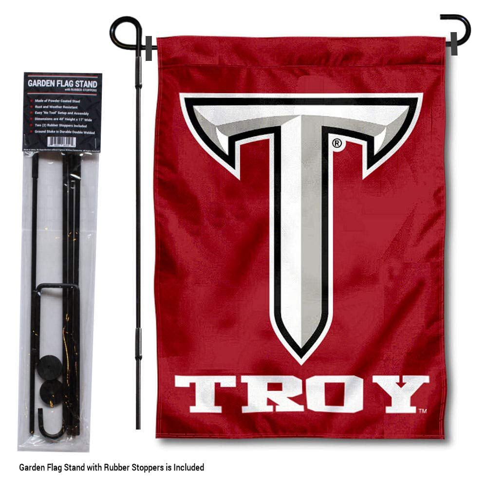 College Flags and Banners Co. Troy Trojans Power T ガーデンフラッグ ポールスタンドホルダー付き