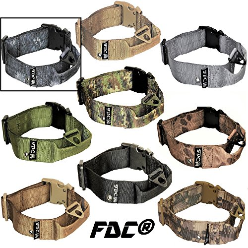 FDC Dog Tactical Collars with Handle HEAVY DUTY Training Military Army WIDTH 1.5in Plastic Buckle TAG HOLE Medium Large M, L, XL, XXL (XL: Neck 16