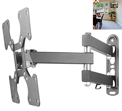 Full Motion TV Wall Mount 10-40 in Bracket with Swivel up to 44lbs VESA 200X200