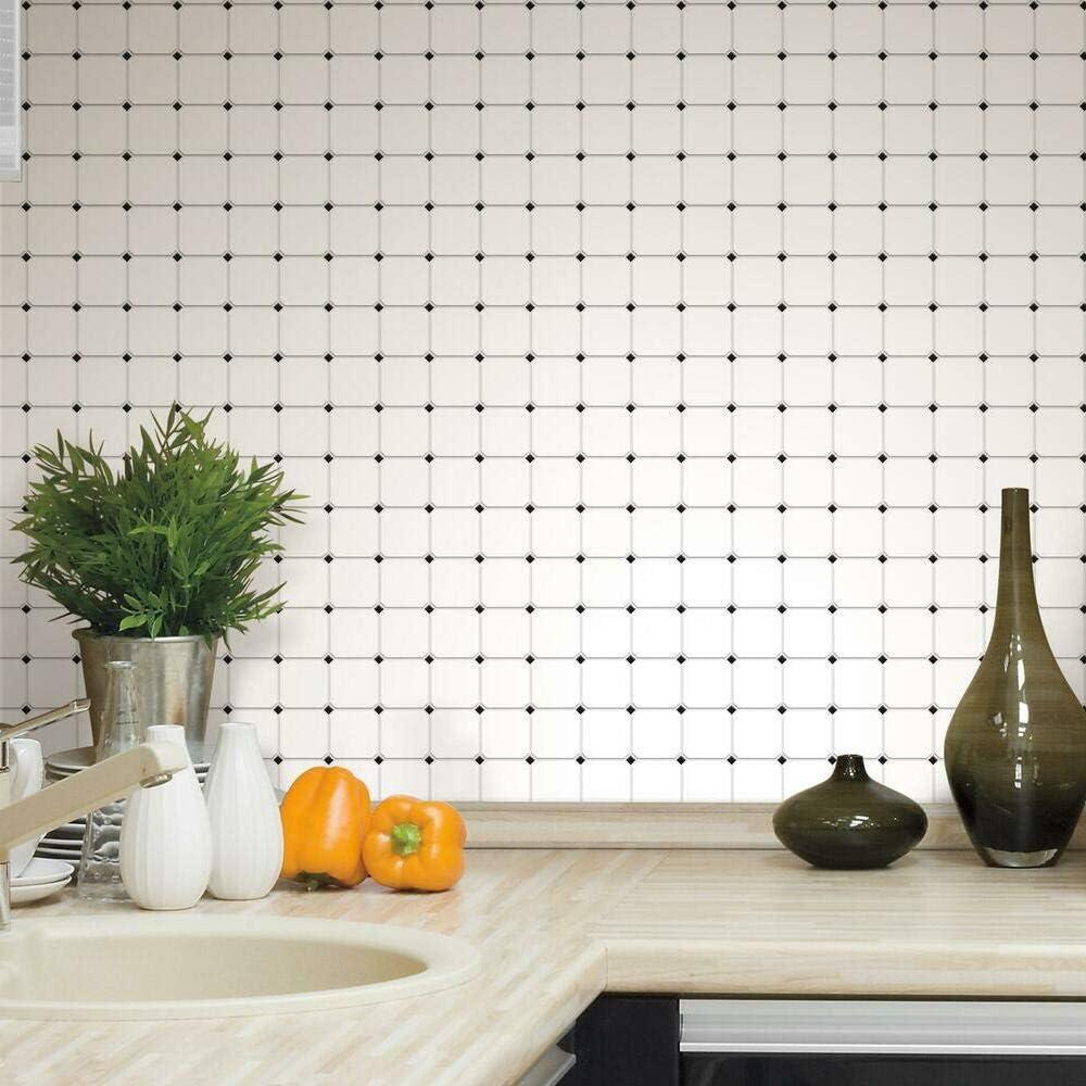 RoomMates StickTILES Black & White Diamond Peel and Stick Backsplash Tiles - 4 Per Pack, 10.5x10.5 (TIL3462FLT)