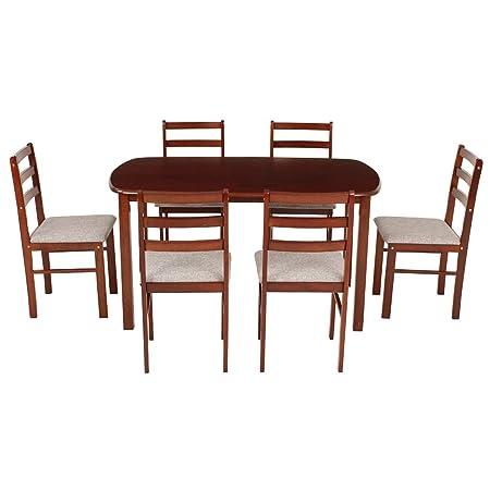 Woodness 28043 6 Seater Dining Table Set (Matte Finish, Mahogany)