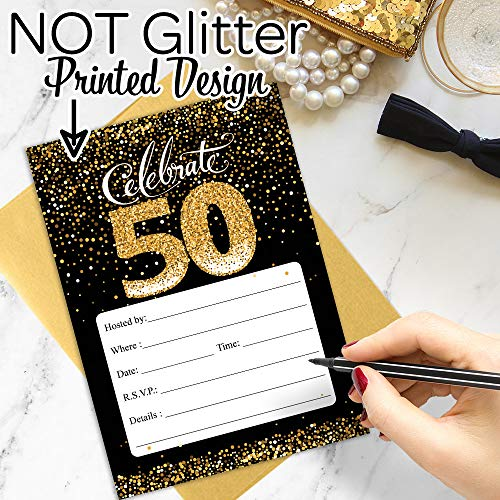 50th Birthday Party Invitation Cards With Envelopes 25 Count Black And Gold By