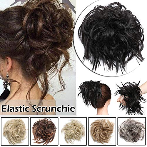 Fluffy Tousled Scrunchie Hair Bun With Elastic Rubber Band Premium Wrap On Hair Extensions Updo Chignon Donut Messy Ponytail Hairpiece Synthetic Wavy For Women(Dark Brown) ()
