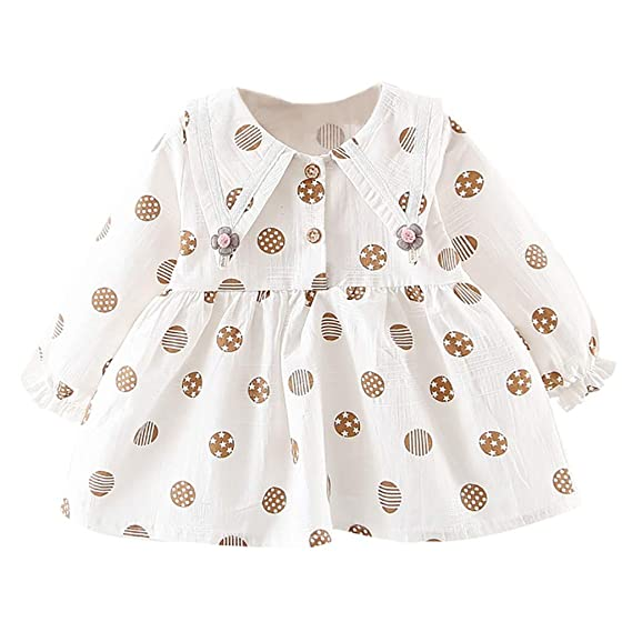 Vestido Lunares con Cuello de Volantes para Niñas K-Youth Ropa Bebe Recién Nacido Niña