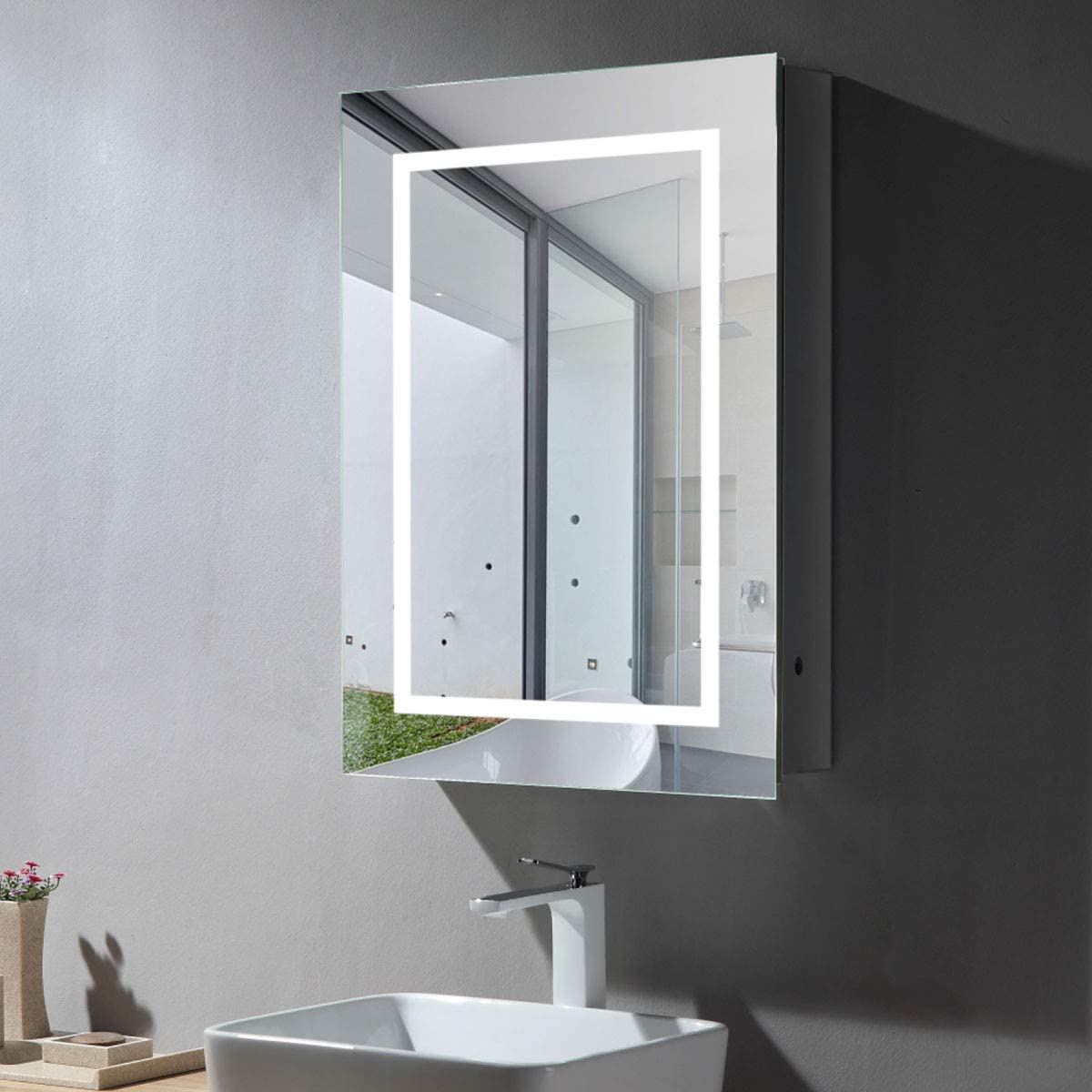 Amazon Com 24 X 32 Inch 2432 In Led Lighted Bathroom Medicine Cabinet Illuminated Wall Mount Aluminum Mirror Cabinet With Infrared Sensor E Ns169 Kitchen Dining