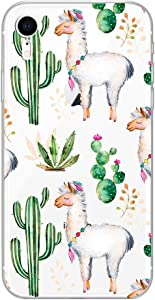 iPhone XR Case,Blingy's New Cute Animal Style Transparent Clear Soft TPU Protective Rubber Case Compatible for iPhone XR (Llama Cactus)