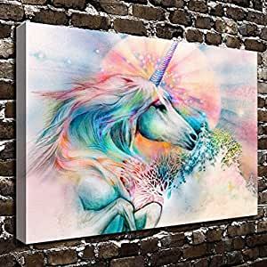 COLORSFORU Wall Art Painting Unicorn Prints On Canvas The Picture Landscape Pictures Oil For Home Modern & Amazon.com: COLORSFORU Wall Art Painting Unicorn Prints On Canvas ...