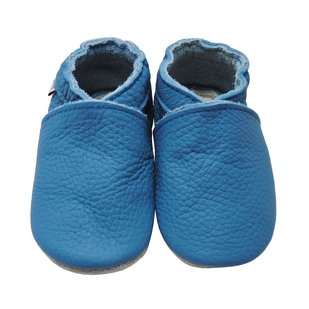 Mejale Baby Boy Shoes Soft Soled Leather Moccasins Heart Infant Toddler Pre-walker(6-12 months,blue)