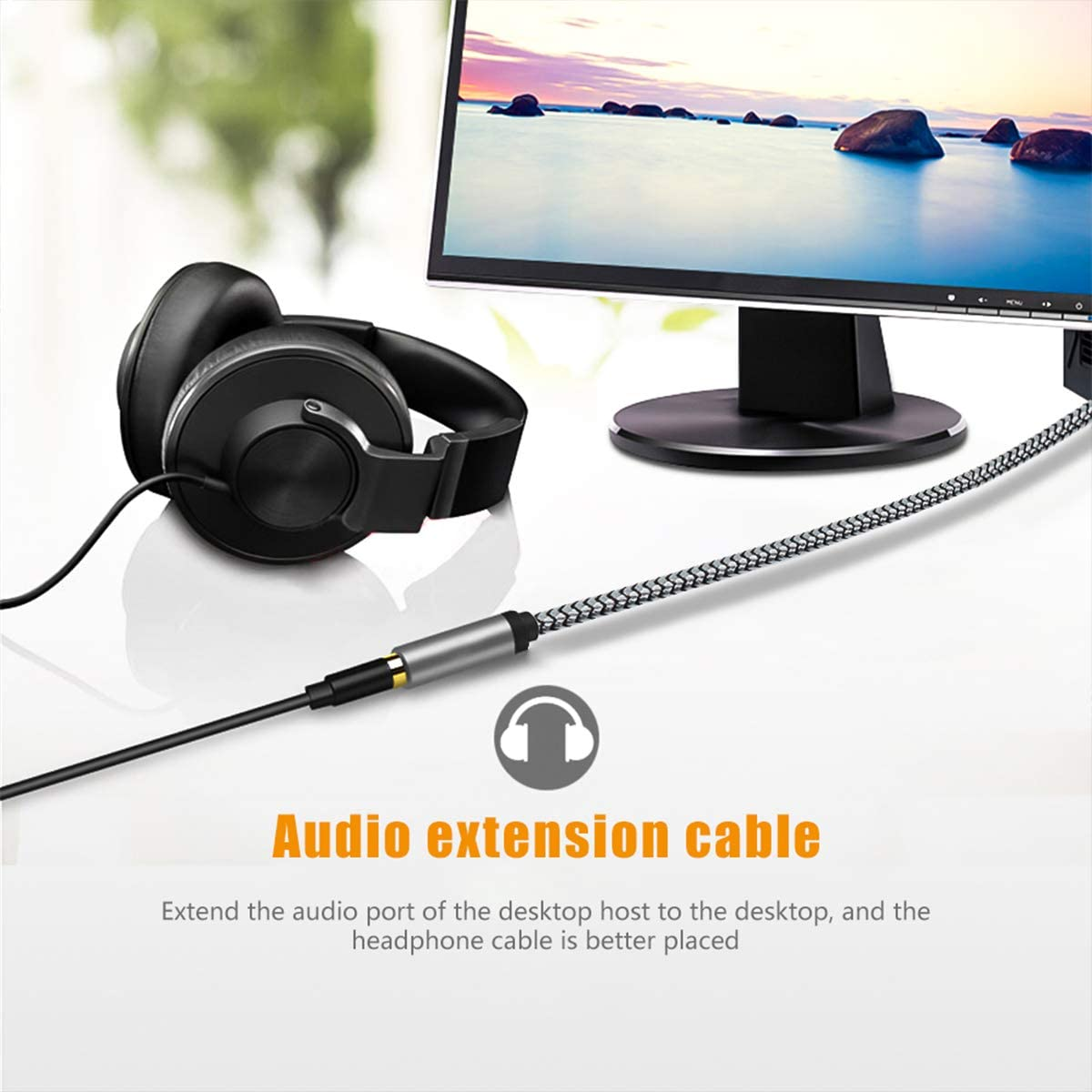 Male to Female Audio Cable 1Ft,Tan QY Male to Female for Phone Headphone Conversion Cord 3.5mm 4 Pole Audio Adapter for Tablet//PC// PS4 and More 1Ft, Silver