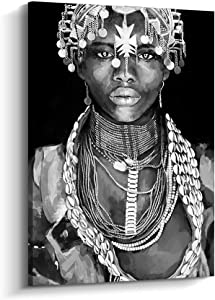 Abstract Afro Art Black Women Wall Art African Portrait Canvas Painting Wall Decor Pictures for Home and Office Decorations (24x36 inch, C)