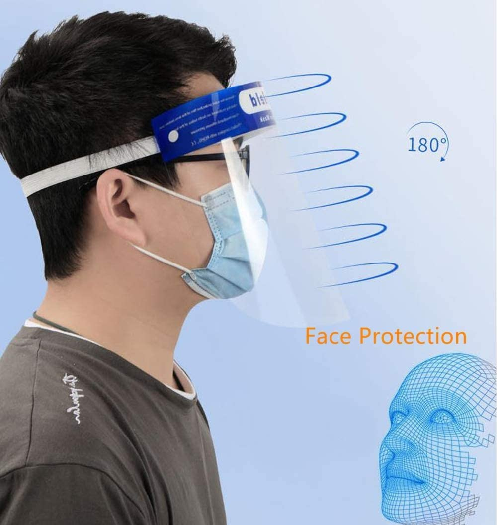 Transparent Facial Protection Screen Drops and Dust 8PCS N // A Bixmox Face coverings Protective Face Visors Adjustable Elastic for Kids Lightweight Plastic