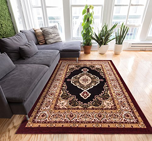 (Well Woven Persian Grand Medallion Black Area Rug 5x7 (5' x 7'2'') with Plain Center Field Deep Red Color Soft Pile Classic Traditional )