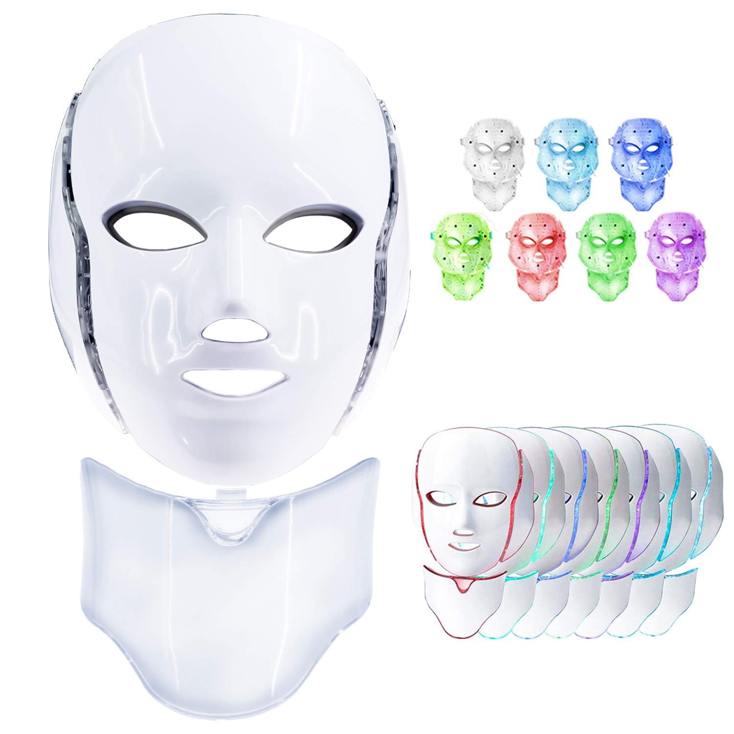 Led Face Mask, 7 Colors Led Light Photon Therapy Mask Beauty Machine Proactive Whitening Skin Care Firming Skin Anti Aging Kit for Neck and Facial with US Plug