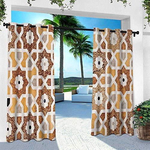 Hengshu Antique, Outdoor- Free Standing Outdoor Privacy Curtain,Detail of Inlay and Geometric Carvings Asian Taj Mahal Tomb Architecture, W96 x L108 Inch, Cream Orange Brown