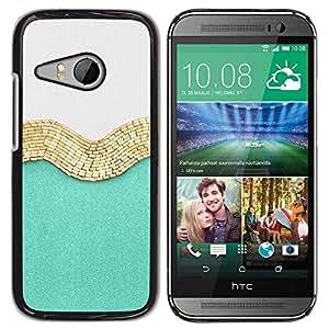 FECELL CITY // Duro Aluminio Pegatina PC Caso decorativo Funda Carcasa de Protección para HTC ONE MINI 2 / M8 MINI // Gold White Fashion Shiny Fashion