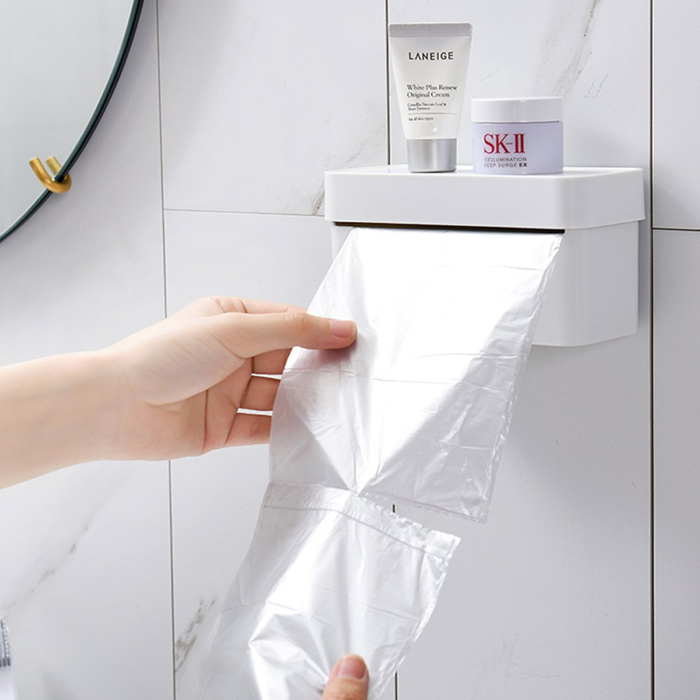 FREELOVE Plastic Nailless Wall-mounted Trash Bags Storage Holder (White)