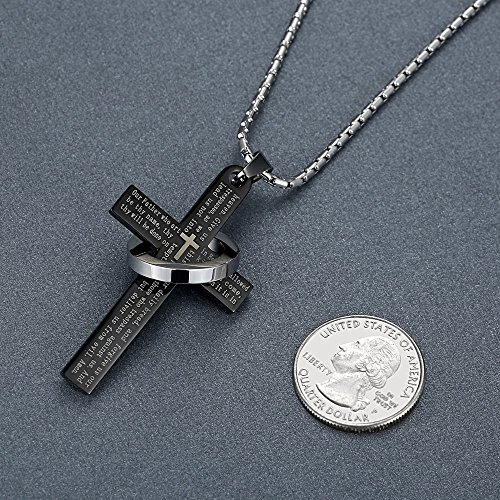 Men's Stainless Steel Lord's Prayer Cross Halo Pendant Necklace, Black Color, 23'' Chain, ddp010he by Aoiy (Image #2)