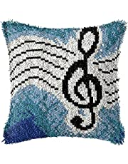 DIY Latch Hook Kits for Adults Music Notes Throw Pillowcase DIY Cushion Carpet Mat Latch Hook Rug Kits Cover Hand Craft Embroidery kit Cross Stitch kit