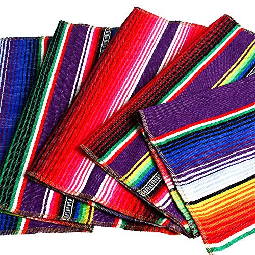 Aneco 2 Pack 14 by 84 Inch Mexican Table Runner Mexican Serape Blanket Cotton Colorful Fringe Table Runners for Mexican Party Wedding Kitchen Outdoor Decorations by Aneco (Image #1)'