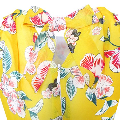 Filles Robe En Mousseline De Soie Ceinture Rouge Floral Jaune Partie Robe De Taille Maxi 6-14 Ans Jaune