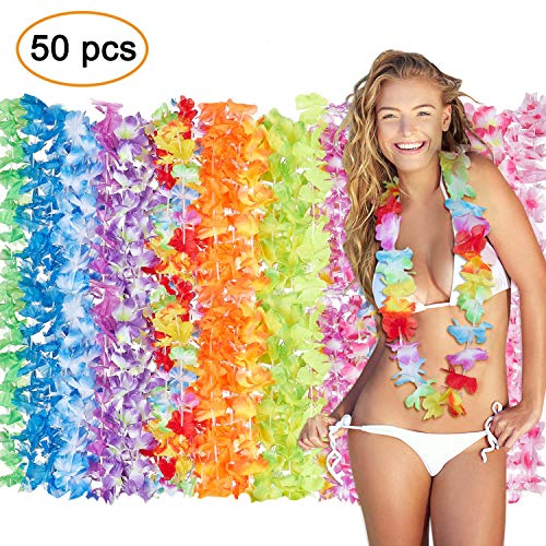 Hawaiian Leis LuckyToy 50 Hawaiian Flowers Necklaces for Hawaiian Luau Party Supplies Colorful Leis with Tropical Hawaiian Design Party Favors ()