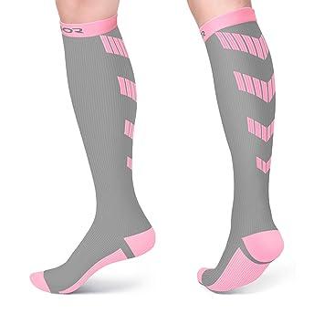Satinior Calcetines de Compresión Deportivos para Hombres y Mujeres, 10-20mmHg Medias Graduadas para