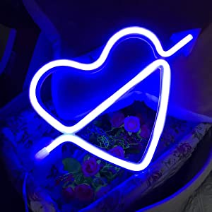 QiaoFei Neon Light,LED Cupid's Bow Sign Shaped Decor Light,Heart Night Lamps Love Marquee Letter Sign Gifts for Christmas,Birthday Party,Kids Room,Living Room,Wedding Party(Blue)