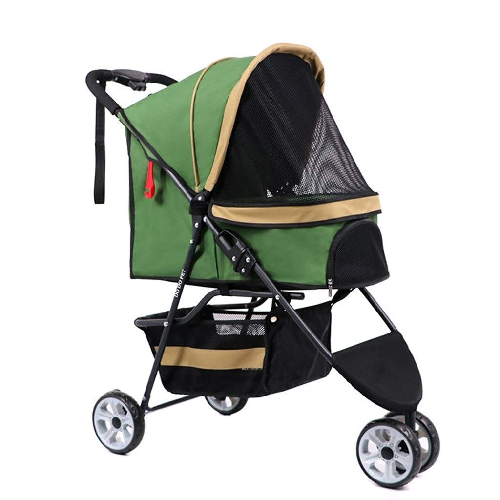 Strollers Dog Pram Folding Pet Trolley Small and Medium Pet Cat and Dog Off-Road Vehicle Dog Cat Wagon Travel Vet Can Bear 15 Kg (Color : Green, Size : 809536cm)