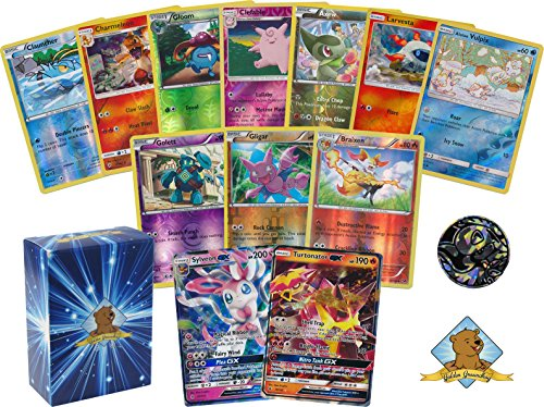 (Pokemon 50 Count All FOILS Bundle! Featuring 1 Pokemon GX! in Every Bundle! NO Duplication! 1 Pokemon Coin! Includes Golden Groundhog Deck Box )