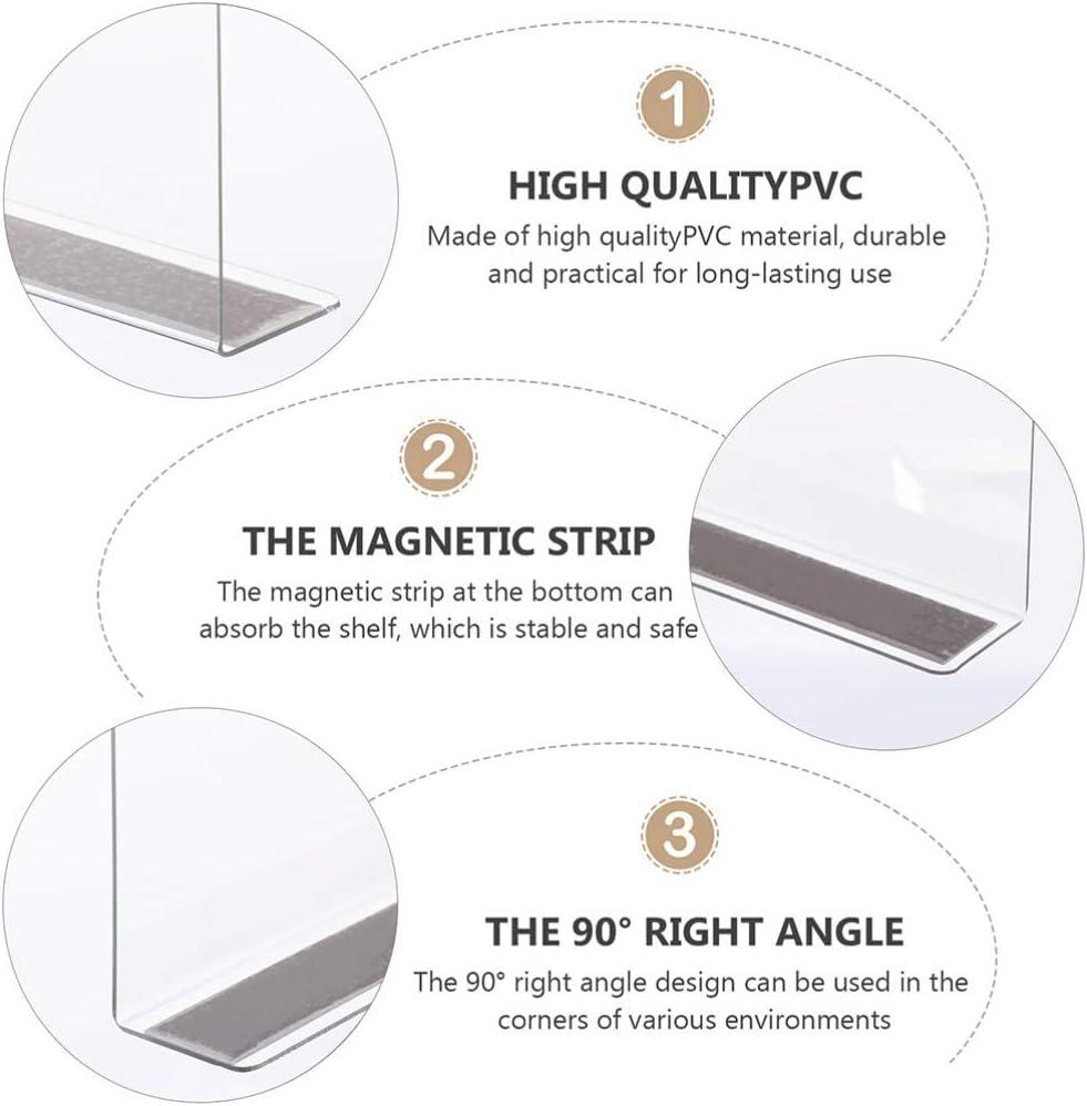 Baluue 6Pcs Plastic Shelf Dividers Magnetic Closet Shelf Organizer Divider Separator Clapboard for Storage Bedroom Bathroom Kitchen Office Supermarket 6CM