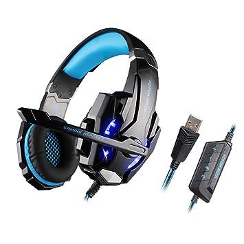 KOTION EACH G9000 Auriculares de Juegos USB 7.1 Sonido Envolvente Cancelación de Ruido con Mic Luces