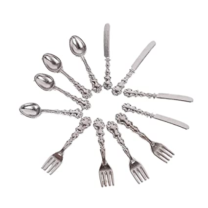 Miniature dolls house accessories Set Of Measuring Spoons silver 12th scale