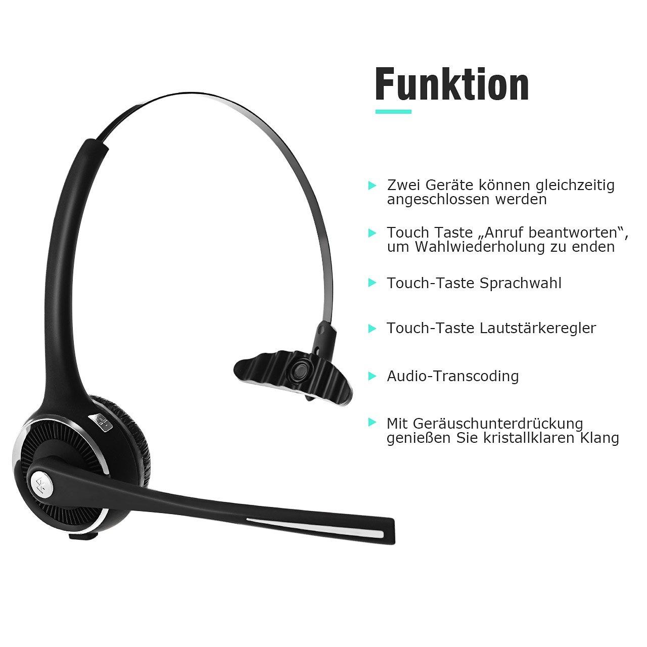 Mpow Bluetooth Headset 13 Stunden Leicht Headset mit Ladestation Freisprechen Headset Auto,Wireless PC Headset mit Mikrofon f/ür Computer,Skype,VoIP,Call Center,Smartphone