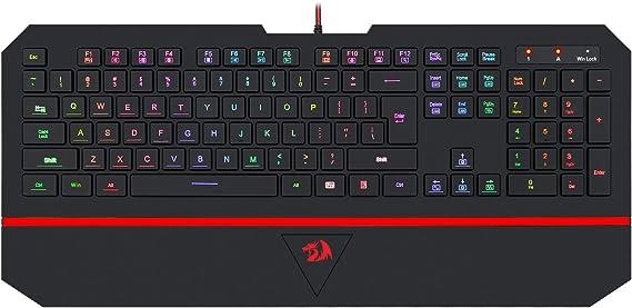 Redragon K502 RGB Gaming Keyboard RGB LED Backlit Illuminated 104 Key Silent Keyboard with Wrist Rest for Windows PC Games