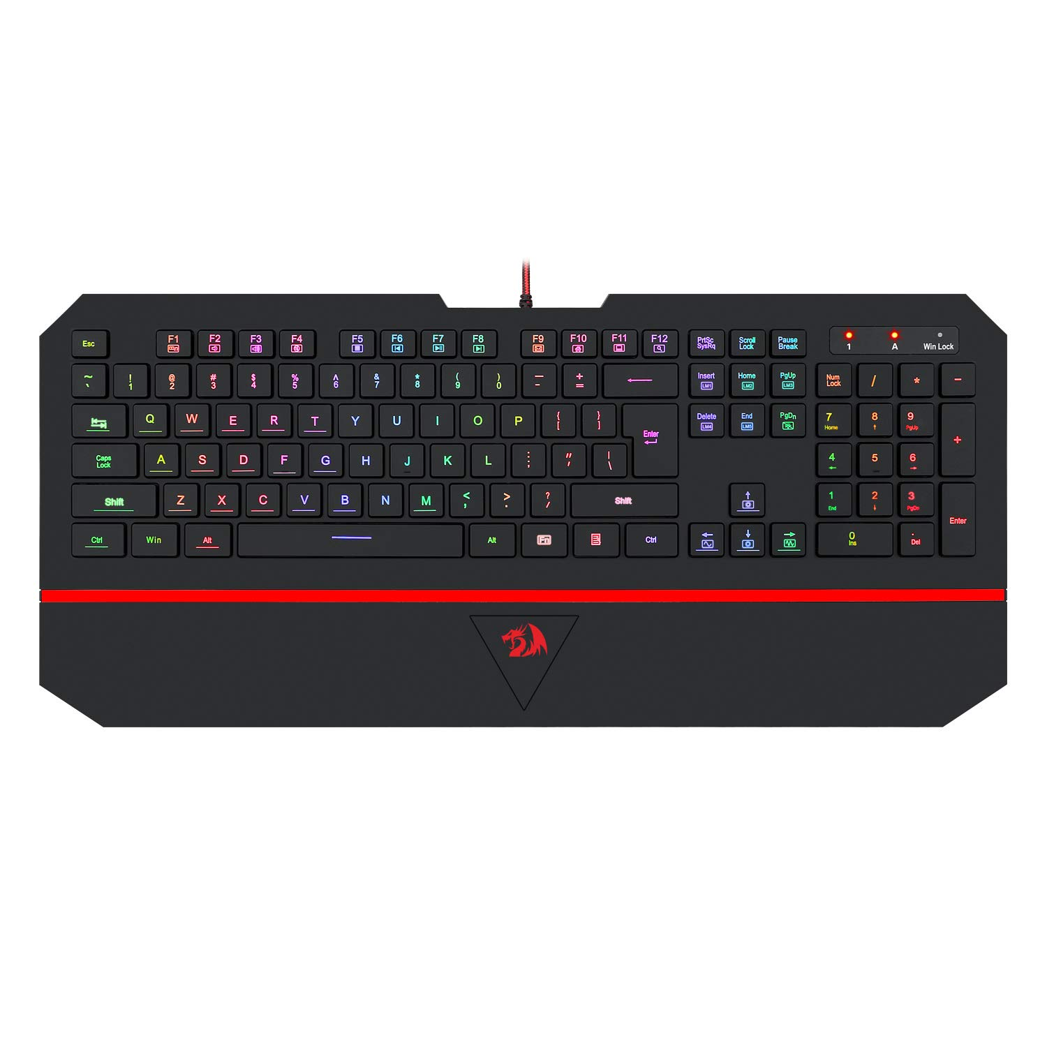 Redragon K502 RGB Gaming Keyboard RGB LED Backlit Illuminated 104 Key Silent Keyboard with Wrist Rest for Windows PC Games