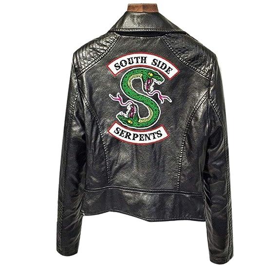 timeless design f356b 29429 XXW Riverdale PU Giacche in Pelle Donna Sudside Serpenti Moto Biker  Cappotto Cosplay