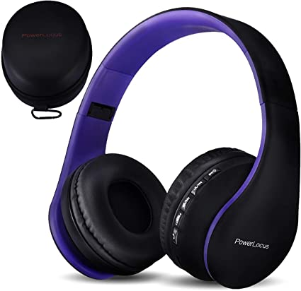 PowerLocus Casque Bluetooth sans Fil, Pliable Casque Audio Stéréo, Oreillette Bluetooth avec Micro IntégréMicro SDFM Radio pour