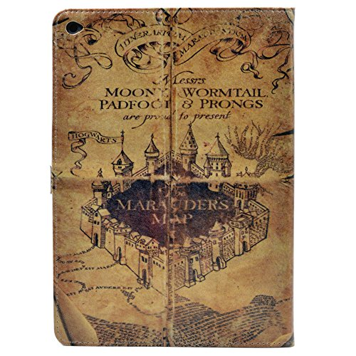 YHB ipad Air 2 CASE Hogwarts Marauders Map Vintage Retro Pattern Leather Flip Stand Case Cover ipad Air 2 II