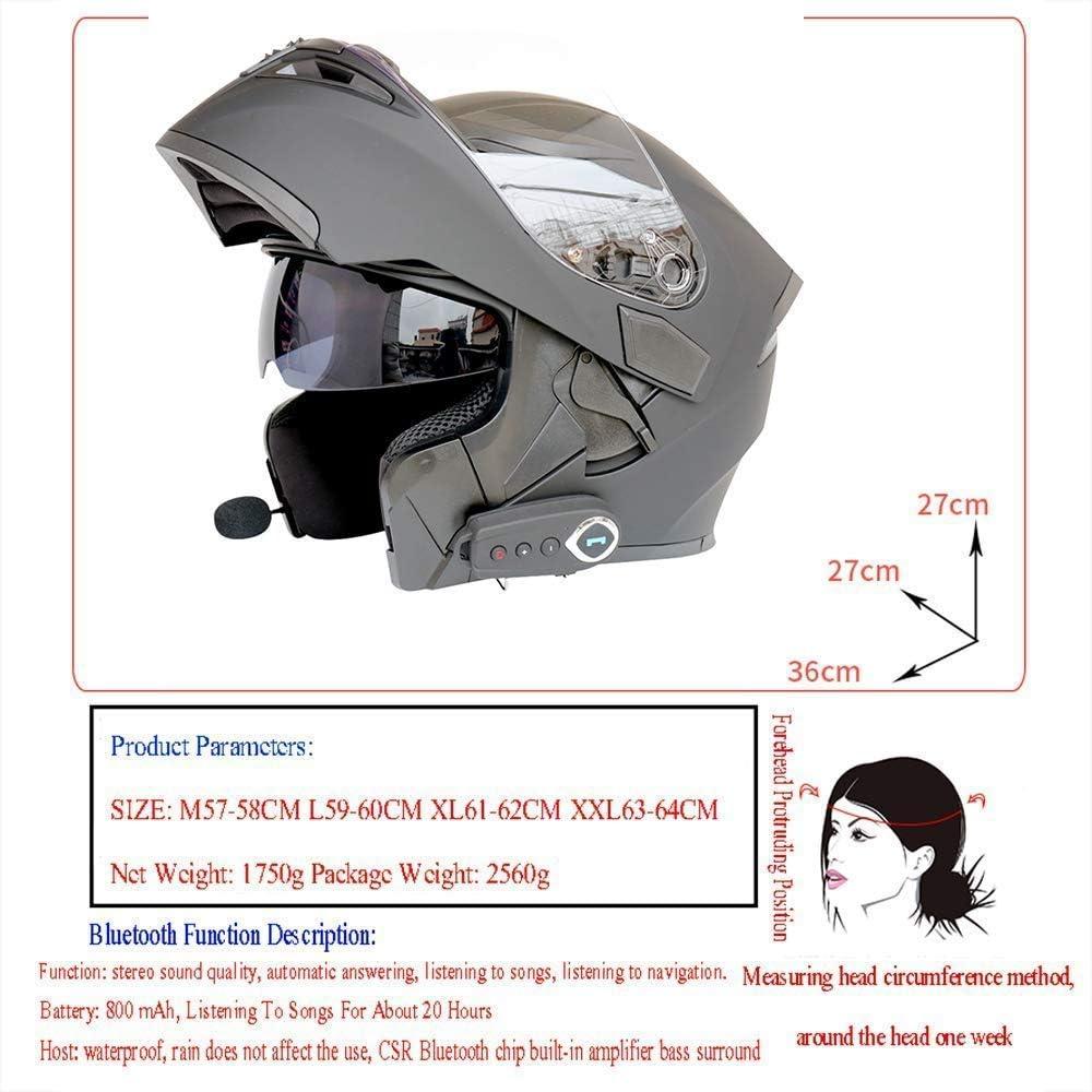 FM DOT-Zertifizierung Klappbare Tourenhelme Integriertes Bluetooth-Headset mit Zwei Lautsprechern und Mikrofon f/ür die automatische Beantwortung Helmet Modulare Motorradhelme Bluetooth