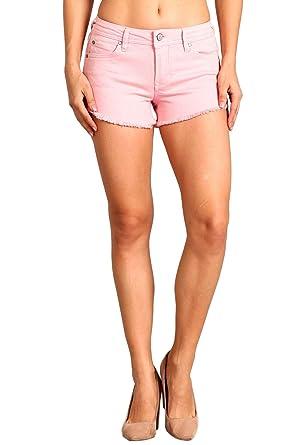 77f742feb Celebrity Pink Women s Mid Rise Frayed Slit Hem Shorts 3 Pink CJ31178G73