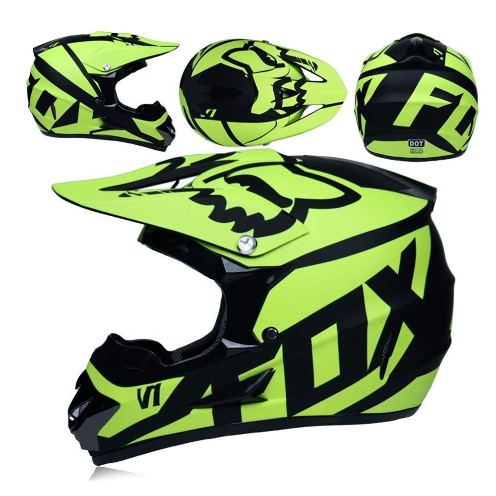 QE Protecci/ón de Deportes al Aire Libre Motocross Casco y Gafas de Regalo M/áscara Guantes Fox Motociclismo Carreras en General Casco Hombres y Mujeres Color : Verde, Tama/ño : S