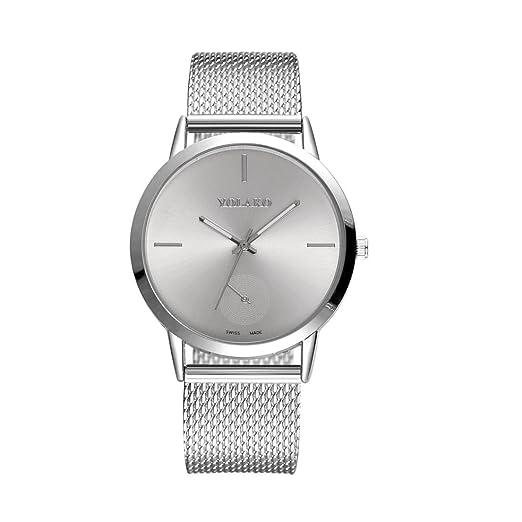 QinMM Reloj duro de acero inoxidable Mirror para mujer (Plateado): Amazon.es: Relojes