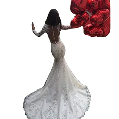 36c37f278e DingDingMail Sexy Sheer Crew Neck Lace Mermaid Wedding Dresses with Long  Sleeves Backless Sweep Train Bridal Gowns at Amazon Women s Clothing store