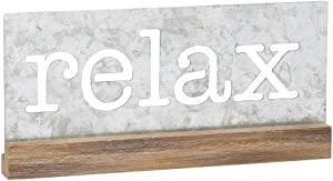 Collins Painting Galvanized Metal & Wood Tabletop Sign (Relax)