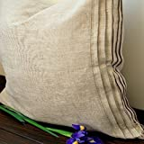 Linen pillow sham with pleats decor, king, queen, standard and euro sizes, in natural linen, white or off-white color