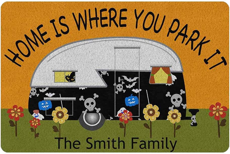 Custom Camper Doormat, Personalized Camping Rv Door Mats Home is Where We Park It Indoor Outdoor Entrance Floor, Funny Gifts Campsite Rugs Outside Decor (24 X 16 inches)