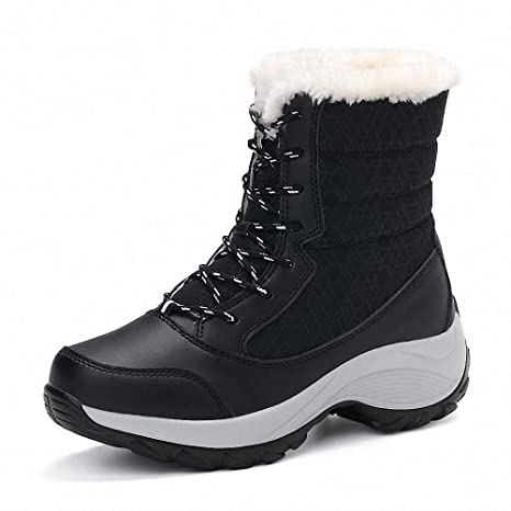 b82e5a486427 Amazon.com  Kyle Walsh Pa Women Boots Winter Warm Fur Snow Boots Round Toe  Lace-up Female Ankle Booties Platform Botas Mujer  Sports   Outdoors