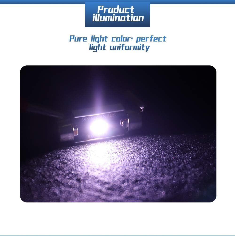 39mm Festoon C5W LED Bulbs 6500K 900LM White Light Super Bright CSP Chips Canbus Error Free for 6411 6413 6423 6461 DE3425 DE3423 Interior Dome License Plate Door Lights 10 pcs