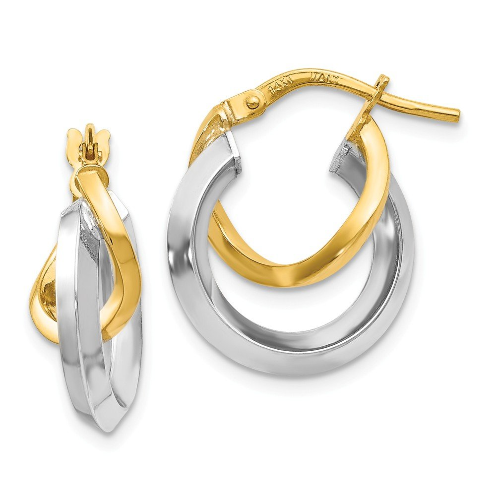 Leslies Real 14kt Two Toned Hoop Earrings